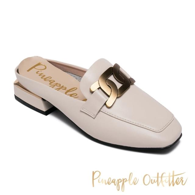 【Pineapple Outfitter】REVA 金屬飾釦方頭低跟穆勒拖鞋(白色)