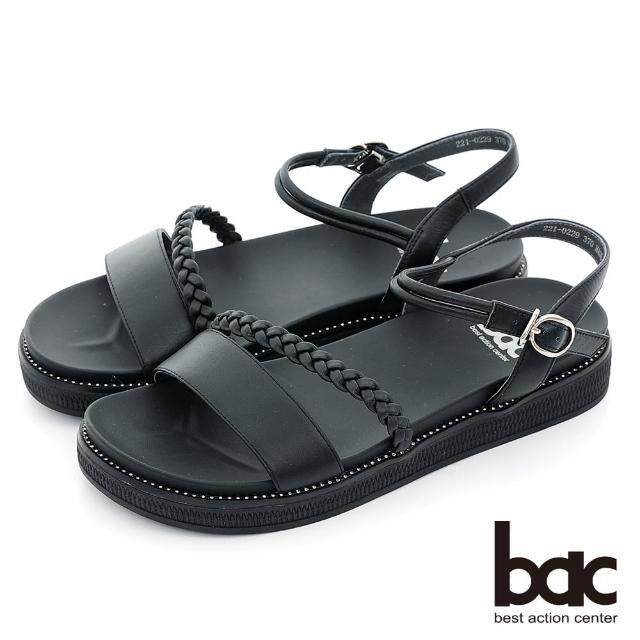 【bac】小清新一字帶編織厚底涼鞋(黑色)