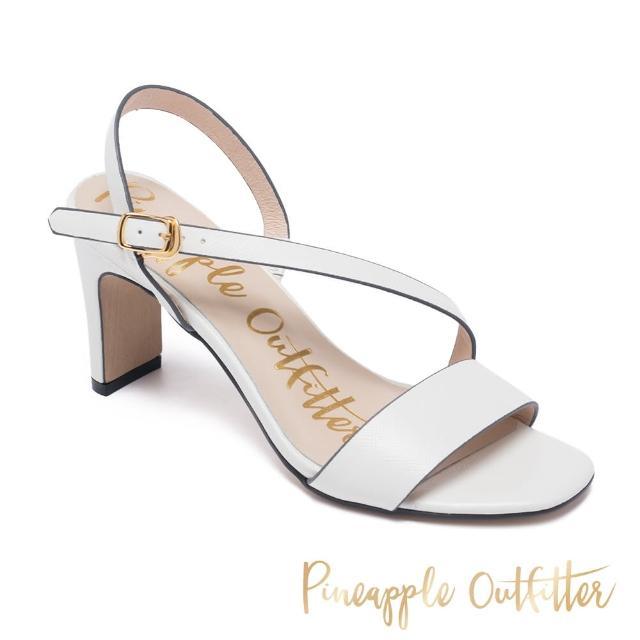 【Pineapple Outfitter】SANNA 真皮一字斜細帶高跟涼鞋(白色)