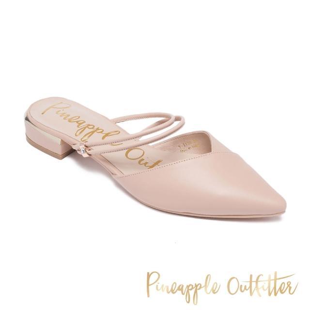 【Pineapple Outfitter】RICHELLE 真皮尖頭低跟涼拖鞋(粉色)
