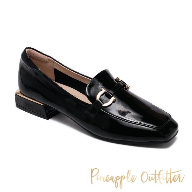 【Pineapple Outfitter】EDITH 真皮金屬釦方頭低跟穆勒鞋(鏡黑)