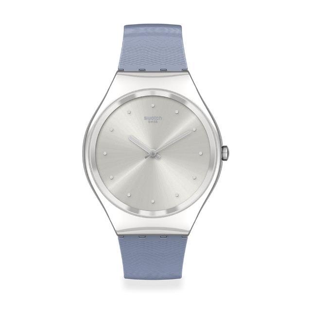 【SWATCH】Skin Irony 超薄金屬系列手錶BLUE MOIRE 藍色波光(38mm)