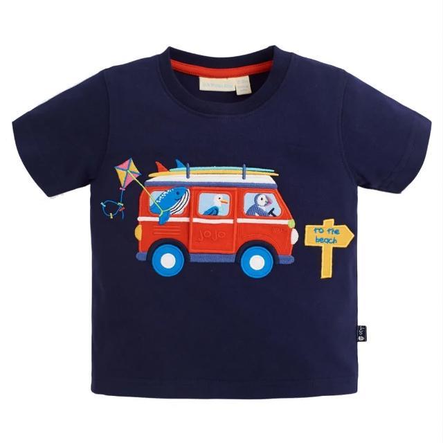 【JoJo Maman BeBe】超優質嬰幼兒/兒童100%純棉短袖上衣/T-shirt/動物T_海洋動物去玩水(JJH1550)