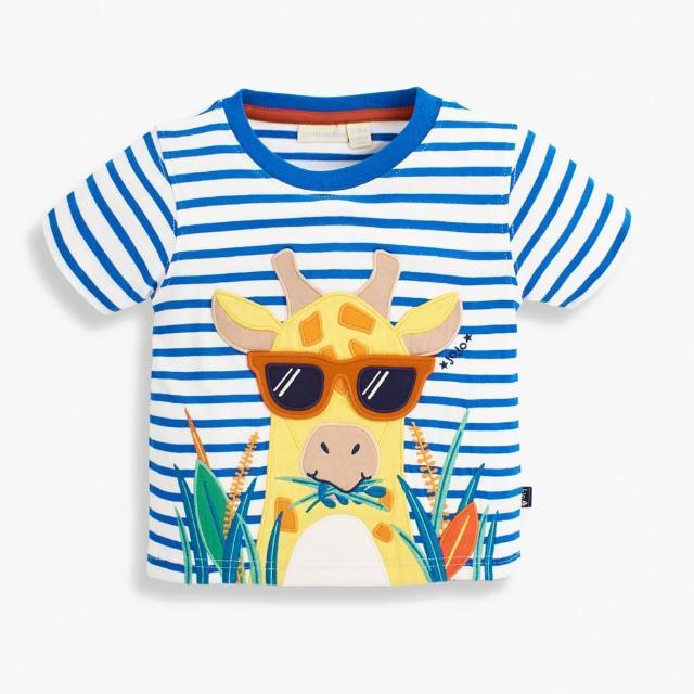 【JoJo Maman BeBe】超優質嬰幼兒/兒童100%純棉短袖上衣/T-shirt/動物T_酷炫長頸鹿(JJH1720)