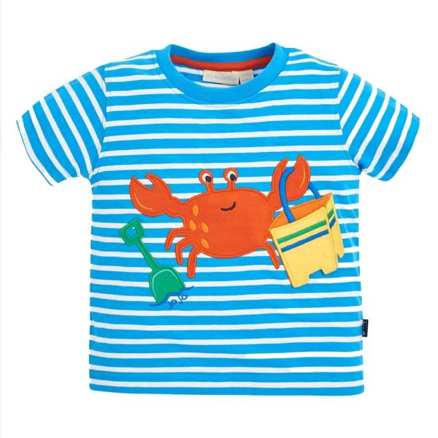 【JoJo Maman BeBe】超優質嬰幼兒/兒童100%純棉短袖上衣/T-shirt/動物T_淘氣螃蟹(JJH1551)