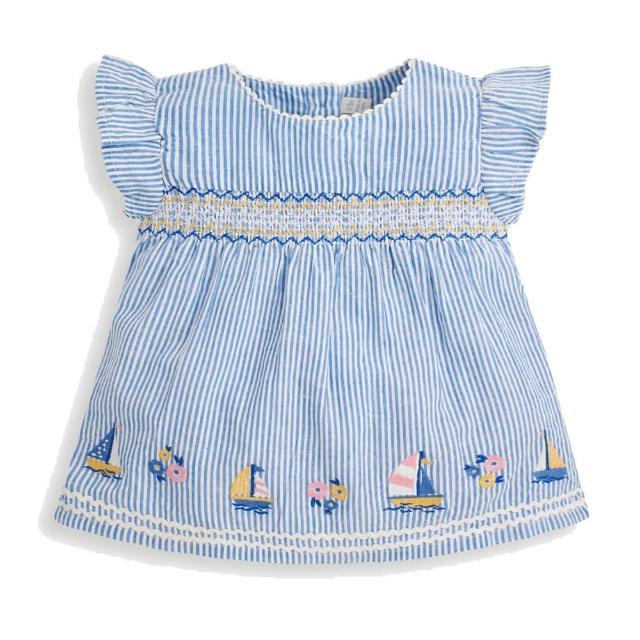 【JoJo Maman BeBe】超優質嬰幼兒/兒童100% 純棉短袖上衣_藍色風海洋(JJH1730)