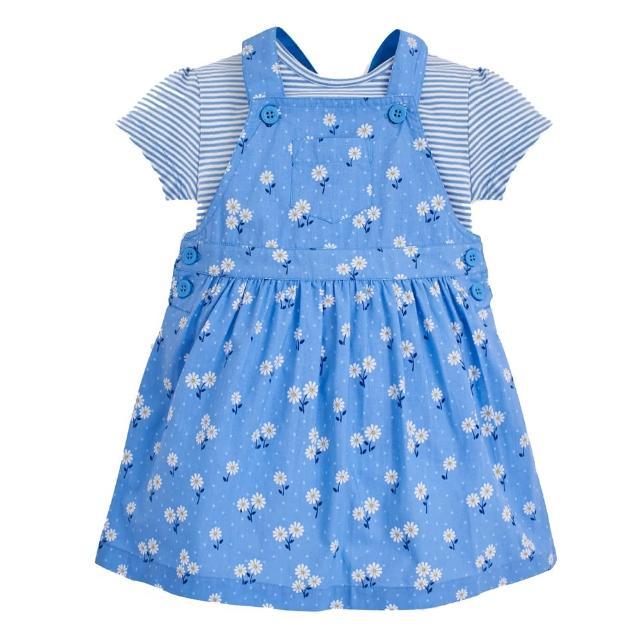 【JoJo Maman BeBe】超優質嬰幼兒/兒童100%純棉2件式短袖洋裝_藍色花海(JJH1396)