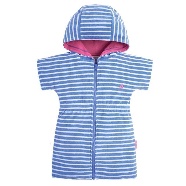 【JoJo Maman BeBe】嬰幼兒/兒童游泳浴巾_藍白條紋(JJE5569)