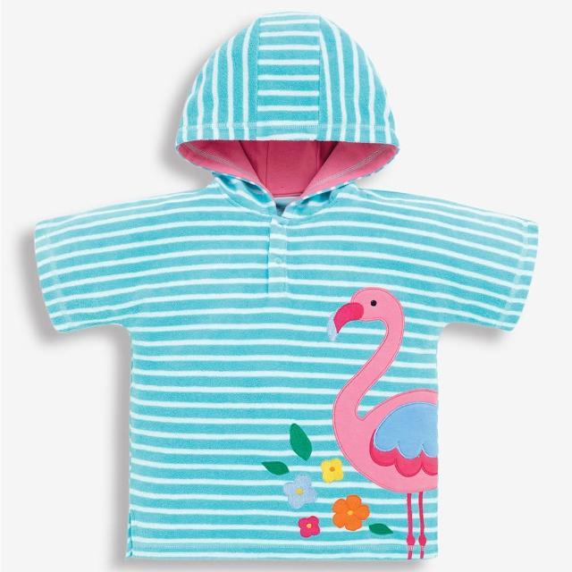 【JoJo Maman BeBe】嬰幼兒/兒童游泳浴巾_紅鶴(JJE4329)