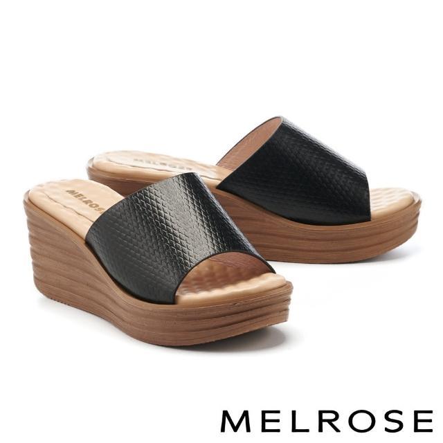 MELROSE【MELROSE】時髦質感壓紋羊皮楔型高跟拖鞋(黑)