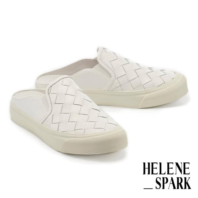 【HELENE SPARK】率性日常全真皮編織厚底休閒拖鞋(白)