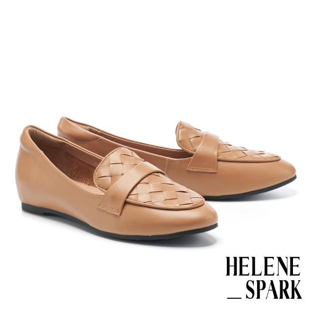 【HELENE SPARK】率性日常全真皮編織內增高樂福低跟鞋(咖)