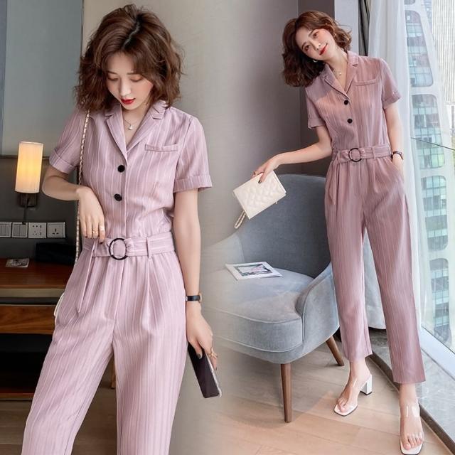 【SZ】時尚粉氣質條紋西裝領腰帶衣褲套裝S-XL