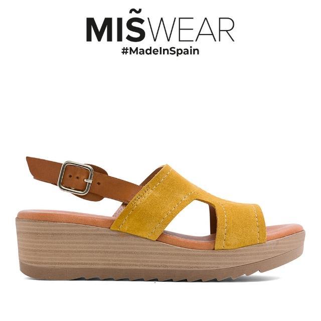 【MISWEAR】Miswear 麂皮復古楔型涼鞋-黃