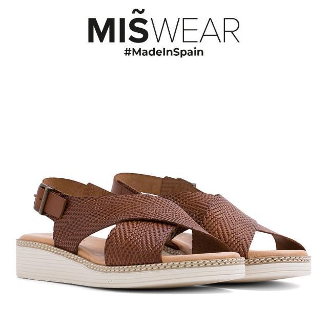 【MISWEAR】Miswear 真皮寬帶交叉厚底涼鞋-棕