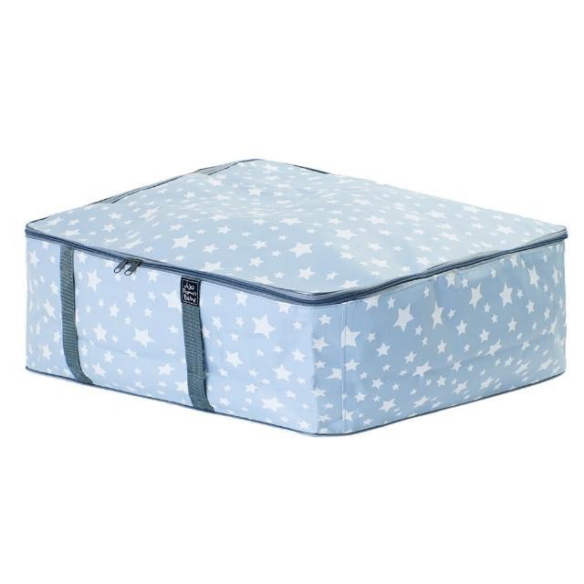 【JoJo Maman BeBe】超大多功能收納袋可收納衣物/棉被/用品_冰藍星星(JJE6515)