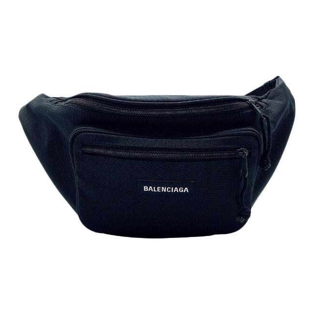 【Balenciaga 巴黎世家】品牌字母尼龍布腰包/斜背包(482389-黑)