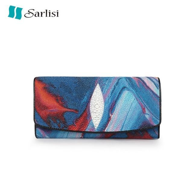 【Sarlisi】新款泰國進口真皮珍珠魚皮錢包女長款錢夾大容量長夾女士手拿包
