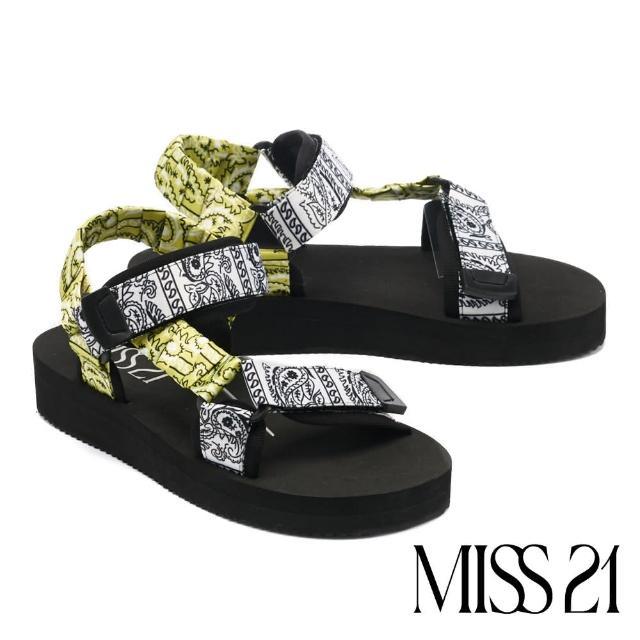 【MISS 21】率性休閒印花布料魔鬼氈厚底涼鞋(白)