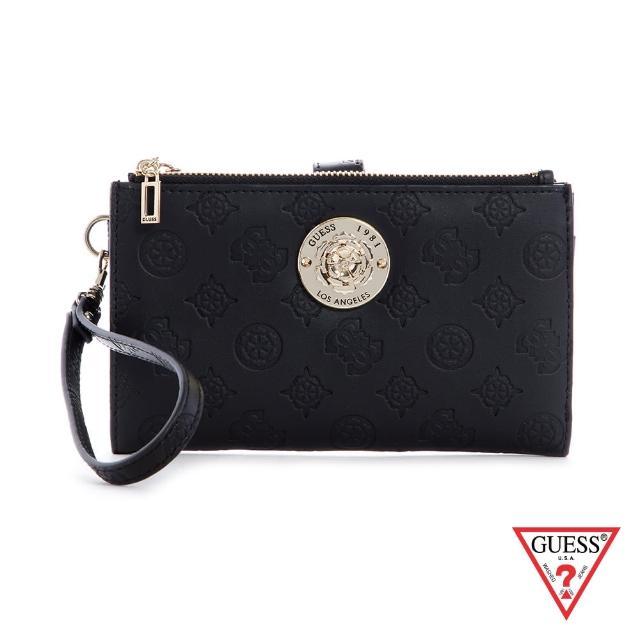【GUESS】女夾-時尚印花字母LOGO手拿包-黑(SG796857BLA)