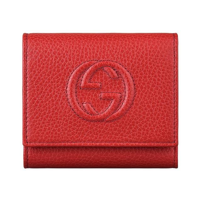 【GUCCI 古馳】GUCCI SOHO雙G車紋LOGO荔枝紋牛皮6卡扣式短夾(紅)