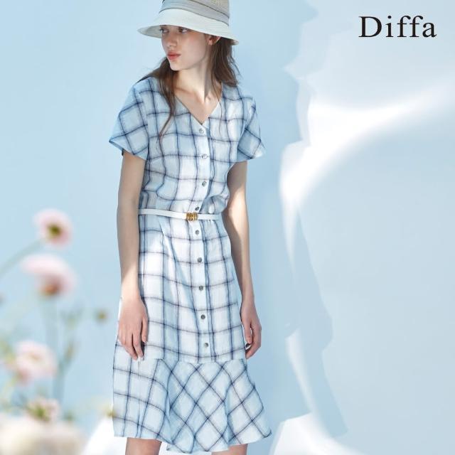 【Diffa】藍色格紋荷葉擺洋裝-女