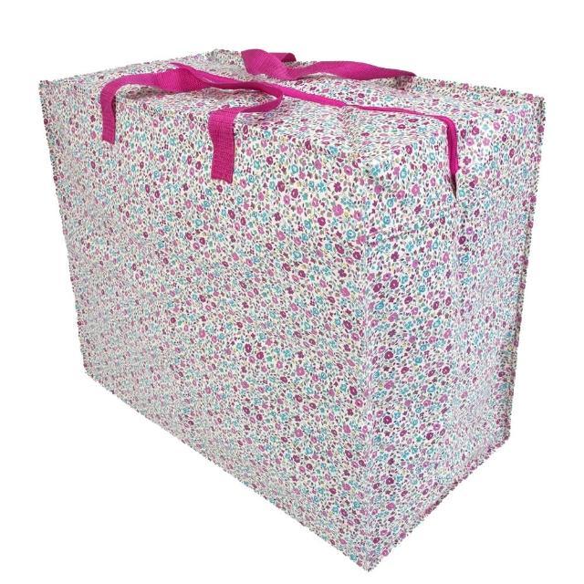 【JoJo Maman BeBe】超大多功能收納袋可收納衣物/棉被/用品_粉色小碎花(JJE7126)