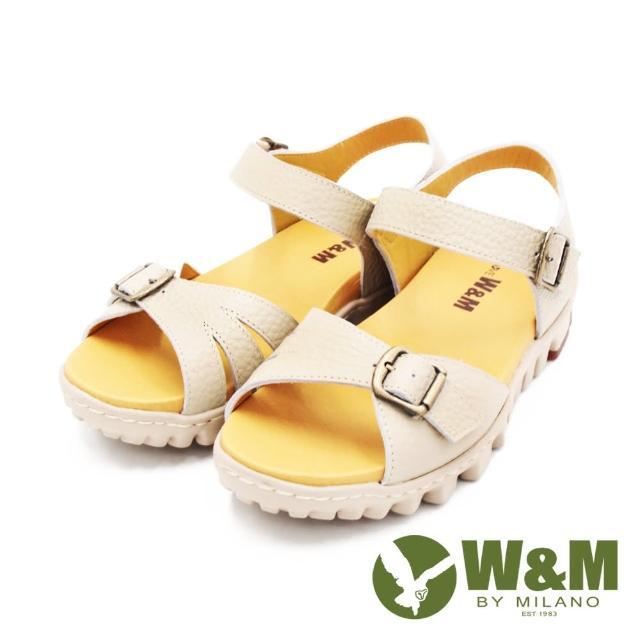 【W&M】女 可調式真皮厚底輕量涼鞋 女鞋(卡其)