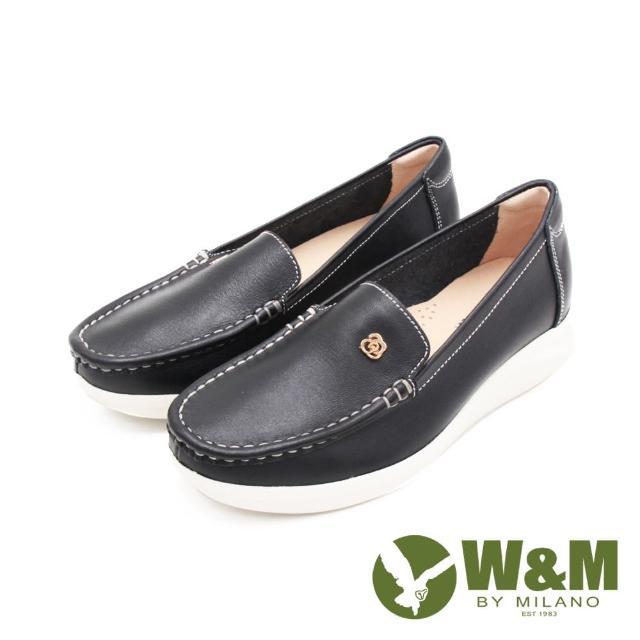 【W&M】女 玫瑰金花型釦 增高樂福鞋 女鞋(黑)