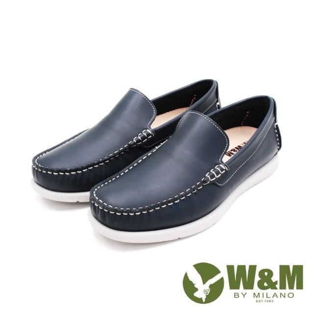 【W&M】男 方頭車線 雅痞懶人樂福便鞋 男鞋(藍)
