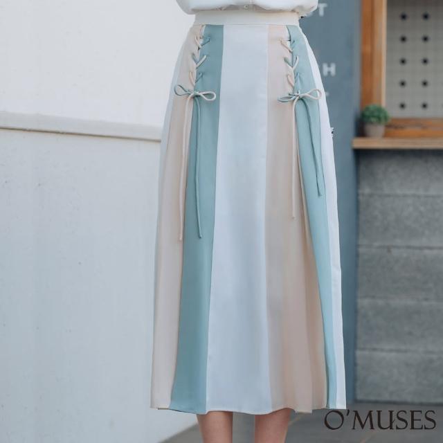 【OMUSES】撞色編織A-Line白色長裙Y13-6895(S-XL)