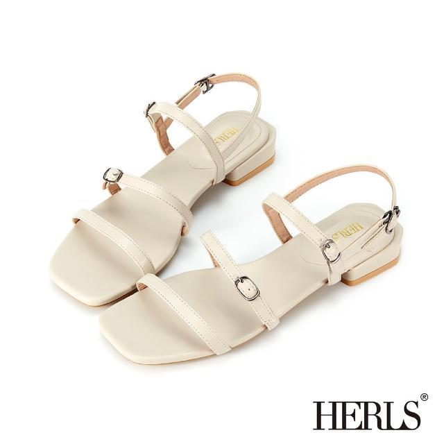 【HERLS】涼鞋-簡約三橫帶釦環低跟涼鞋(米色)