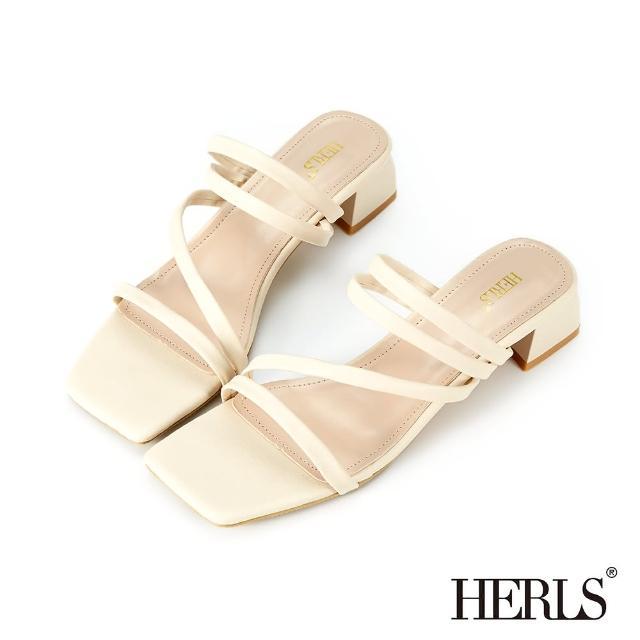 【HERLS】涼鞋-Z字細帶粗跟涼拖鞋(米色)