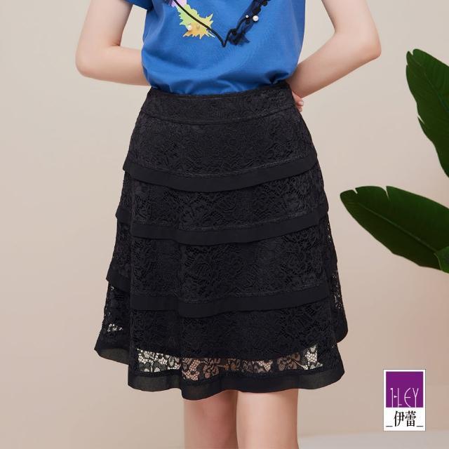 【ILEY 伊蕾】繩股蕾絲A字層次蛋糕短裙1212032123(黑)
