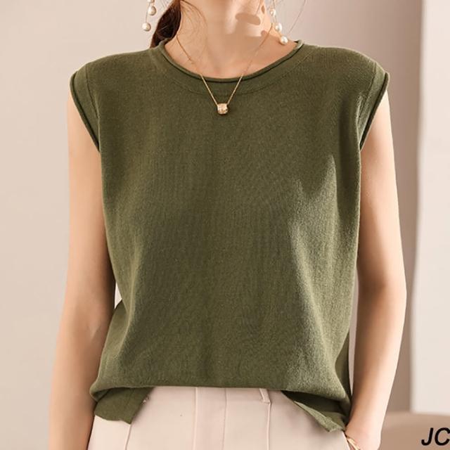 【JC Collection】舒柔透氣純棉圓領捲邊無袖寬鬆背心(天藍色、駝色、綠色)