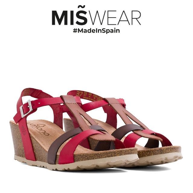 【MISWEAR】Yokono 真皮多色T字楔型涼鞋-紅色