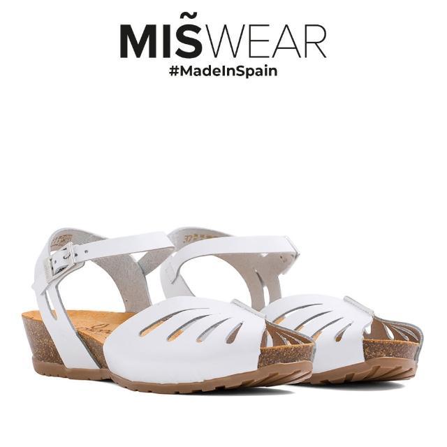【MISWEAR】Yokono 真皮鏤空軟木涼鞋-白