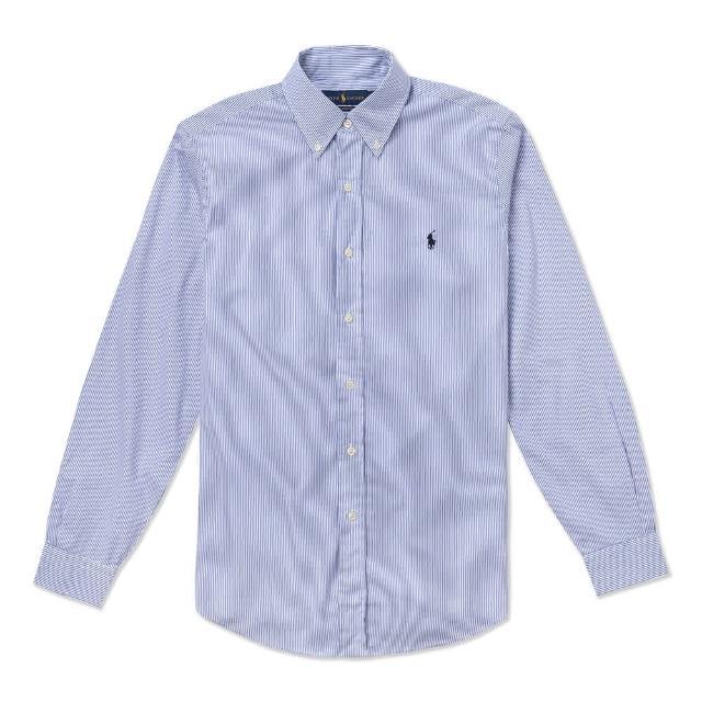 【RALPH LAUREN】Polo Ralph Lauren 經典刺繡小馬長袖襯衫-藍白條紋色