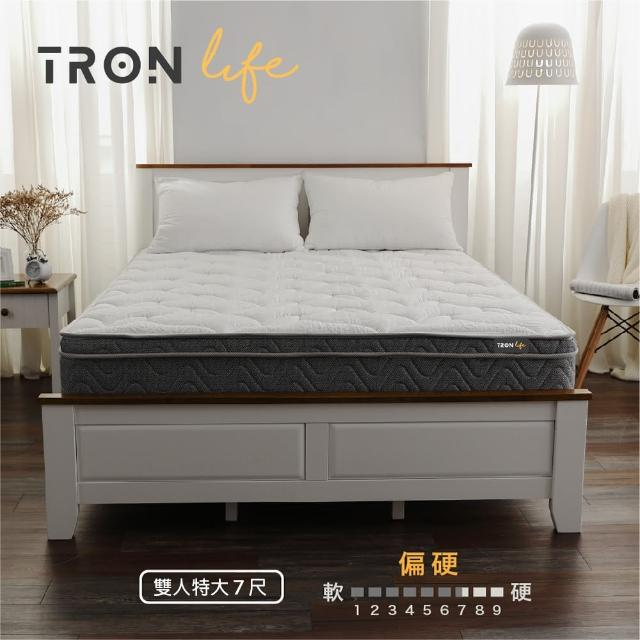 【Tronlife 好床生活】G06恆溫厚三線乳膠硬式獨立筒床|雙人特大7尺(北歐風竹炭恆溫表布)