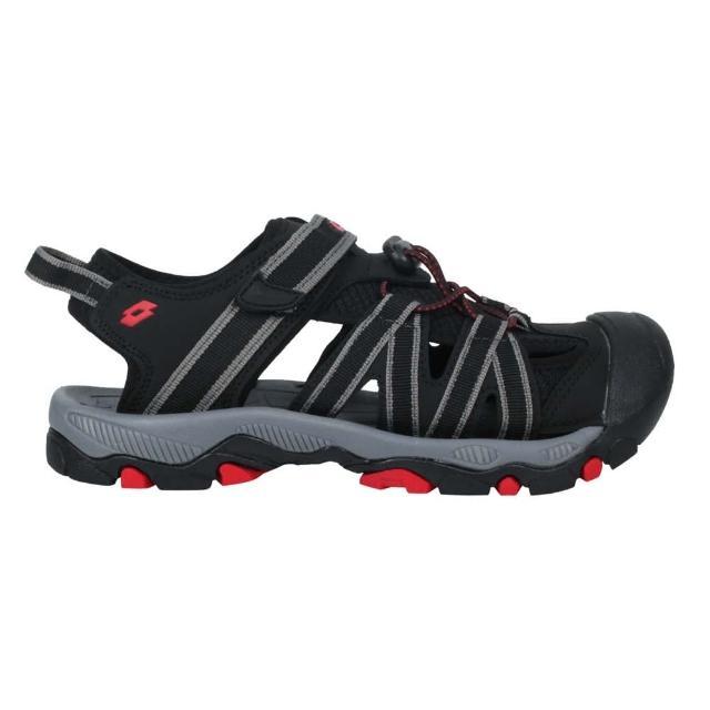 【LOTTO】21-25CM_男女輕量護趾涼鞋-休閒 魔鬼氈 健走鞋 童鞋 黑紅(LT1AKS3320)
