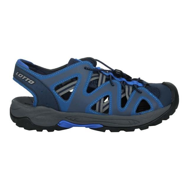 【LOTTO】男排水護趾涼鞋-休閒 健走鞋 水陸鞋 反光 海邊 戲水 藍灰黃(LT1AMS3156)