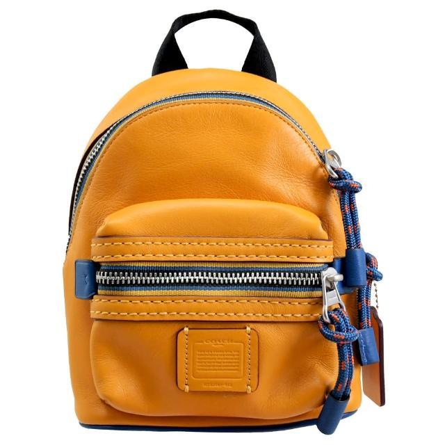 【COACH】品牌標籤LOGO素雅手提胸口包後背包(黃)