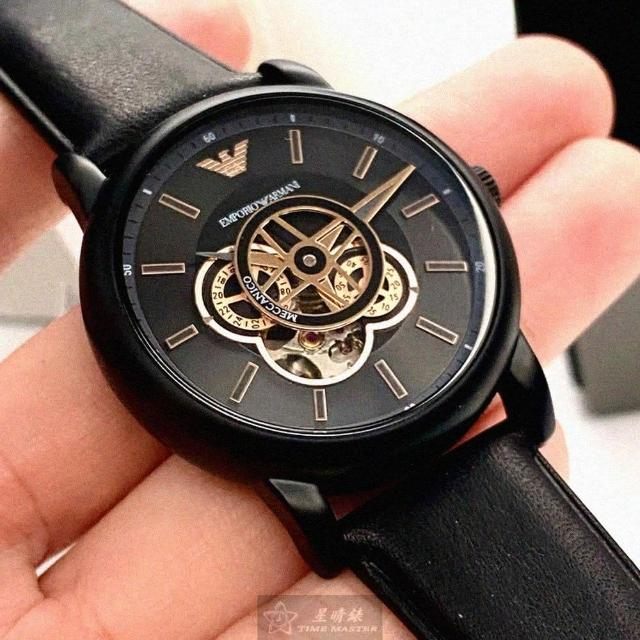 【EMPORIO ARMANI】ARMANI阿曼尼男女通用錶型號AR00001(玫瑰金色錶面黑錶殼深黑色真皮皮革錶帶款)