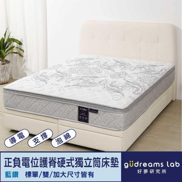 【Tronlife 好床生活】Awake甦醒藍鑽|正負電位|護脊硬式獨立筒床墊|雙人加大6尺(導電紗表布)
