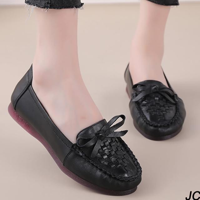 【JC Collection】牛皮透氣舒適柔軟彈性質感蝴蝶結編織懶人鞋休閒鞋(黑色)