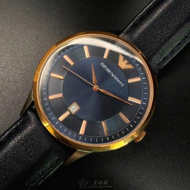 【EMPORIO ARMANI】ARMANI阿曼尼男女通用錶型號AR00004(寶藍色錶面玫瑰金錶殼寶藍真皮皮革錶帶款)