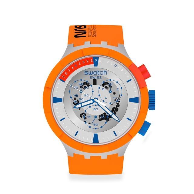 【SWATCH】NASA限定聯名款 BIG BOLD系列手錶LAUNCH 橙色風暴(47mm)