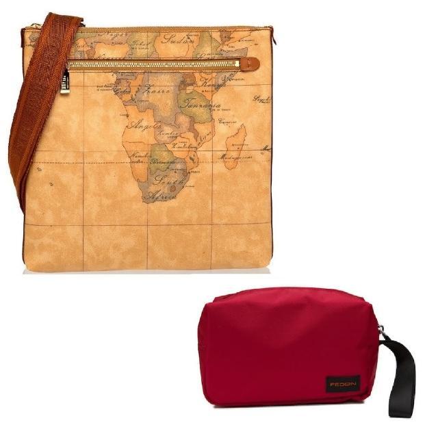【Alviero Martini】義大利地圖包 限量福袋組 斜側背包+旅行收納包(地圖黃)