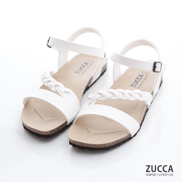 【ZUCCA&bellwink】編織皮交紋扣環涼鞋z7008we-白色