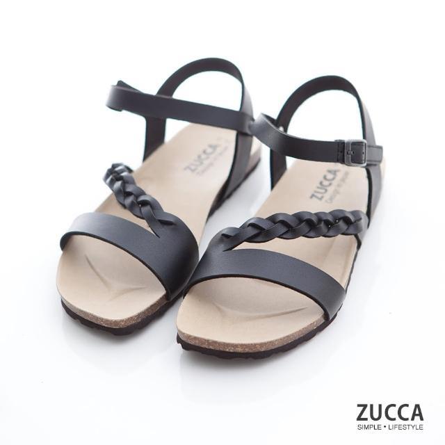 【ZUCCA&bellwink】編織皮交紋扣環涼鞋z7008bk-黑色